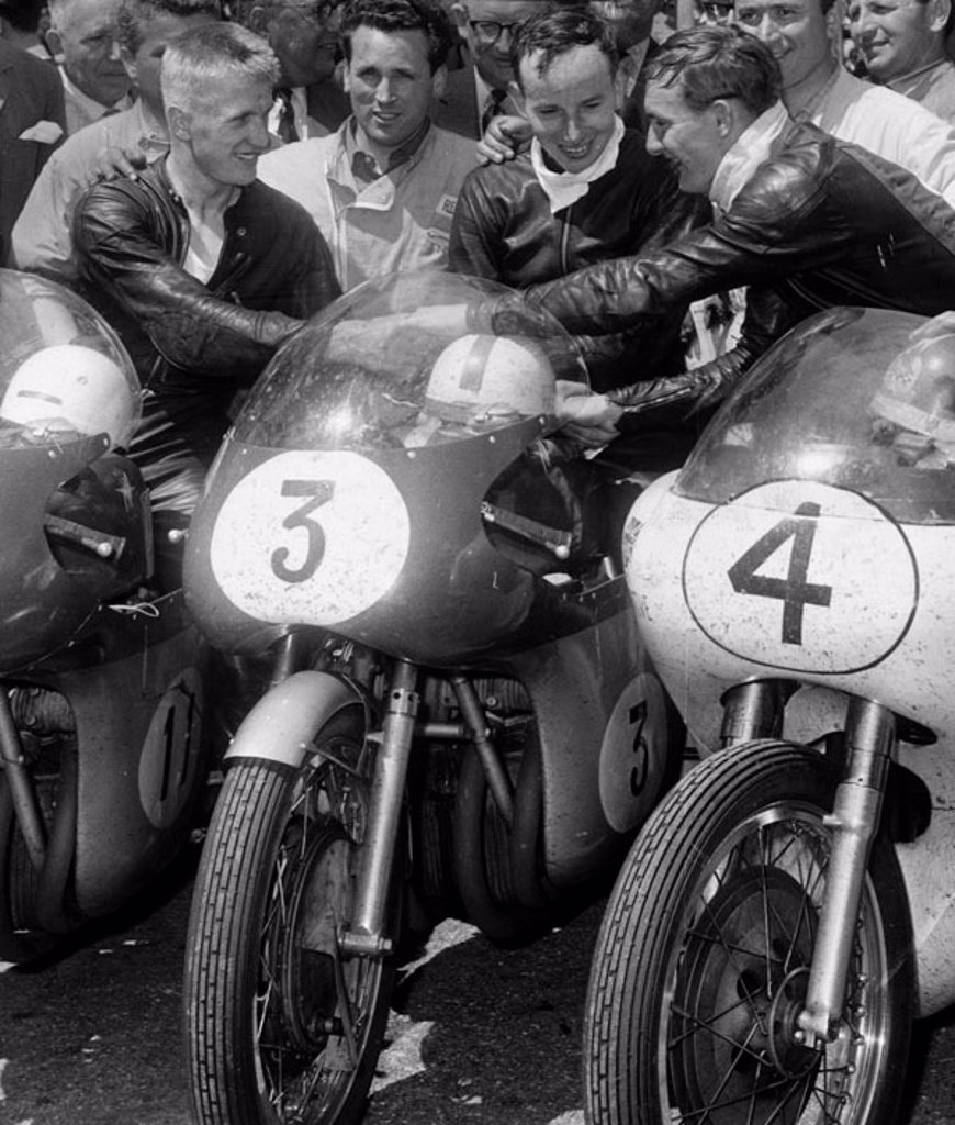 Winners of the TT Seniors motorcycle race, Isle of Man, 17 June 1960. : Stock Photo