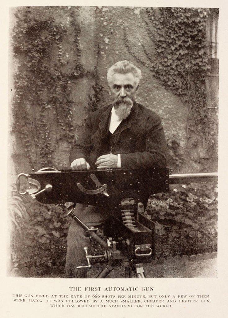 Stock Photo: 1895-45632 Sir Hiram S. Maxim with the first automatic gun.