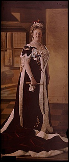 Portrait of a woman in coronation robes, c 1912 : Stock Photo