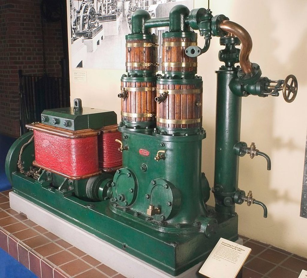 Stock Photo: 1895-46103 Generating Set with Willans Compound Engine, 1887