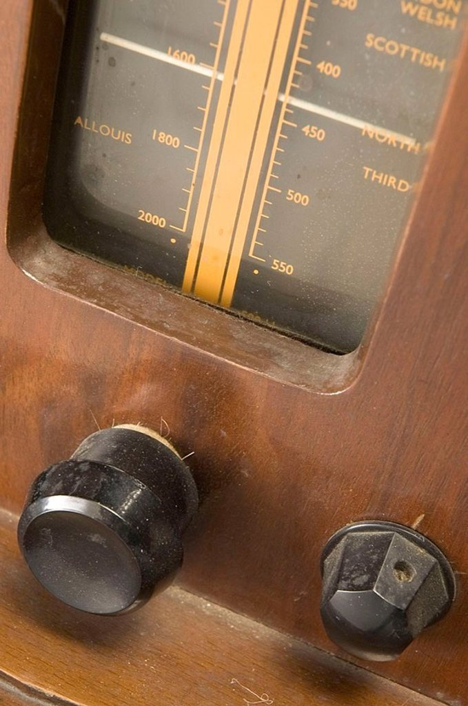 Detail of a McMichael model 512R 12 ' television receiver, c 1951 : Stock Photo