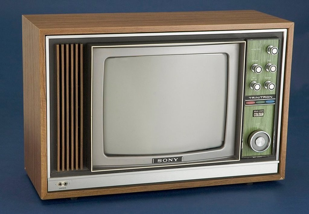 Sony Trinitron colour television receiver, c 1970 : Stock Photo