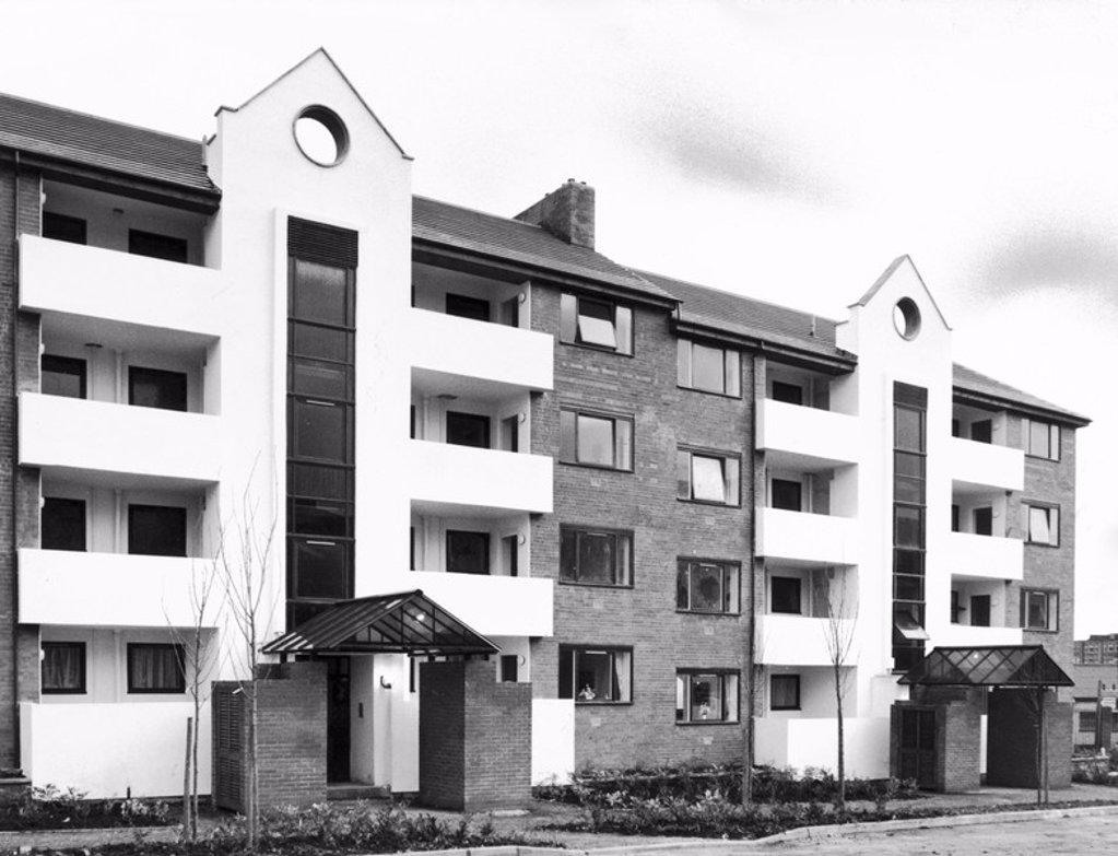 Refurbished flats, March 1984 : Stock Photo