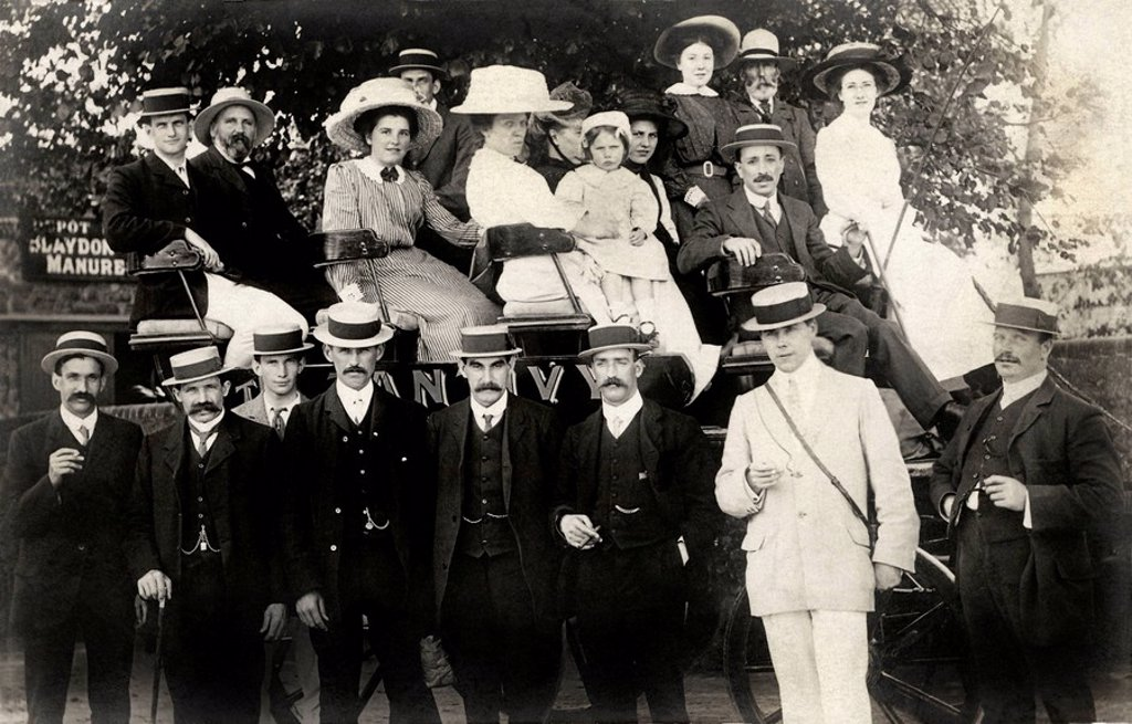 Coach party, North_East of England, 1910s. : Stock Photo