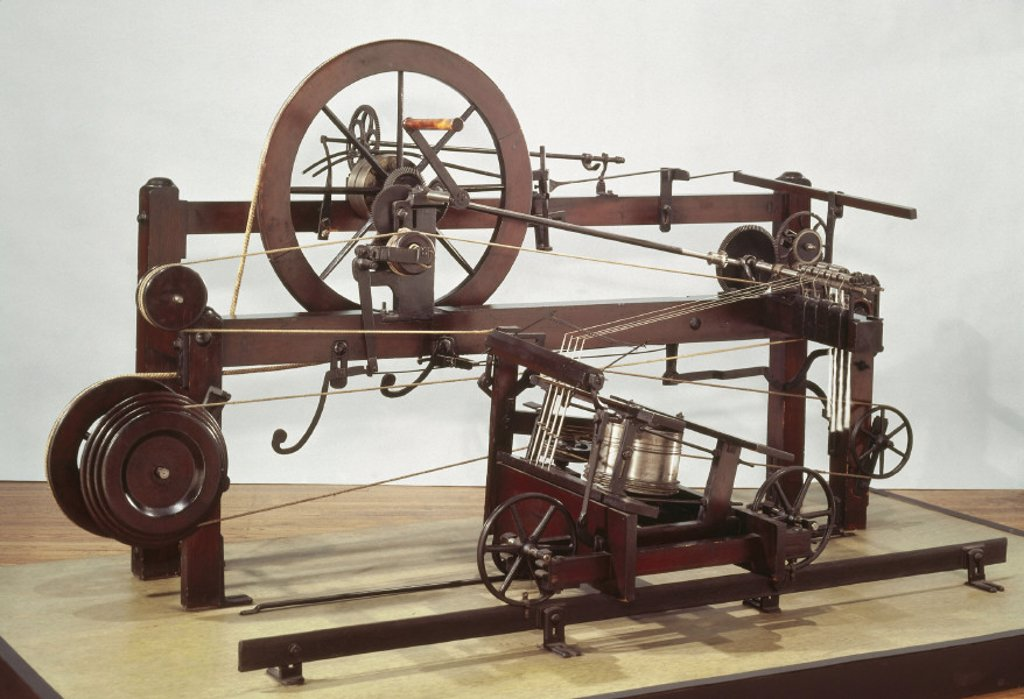 Cromptons spinning mule frame, 1770s. : Stock Photo
