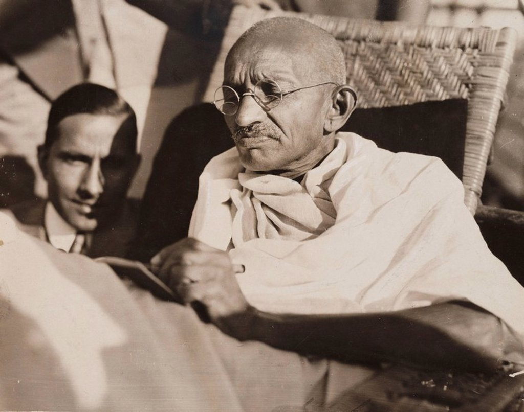 Stock Photo: 1895-48114 Mahatma Gandhi on board the SS 'Rajputana', 1931.