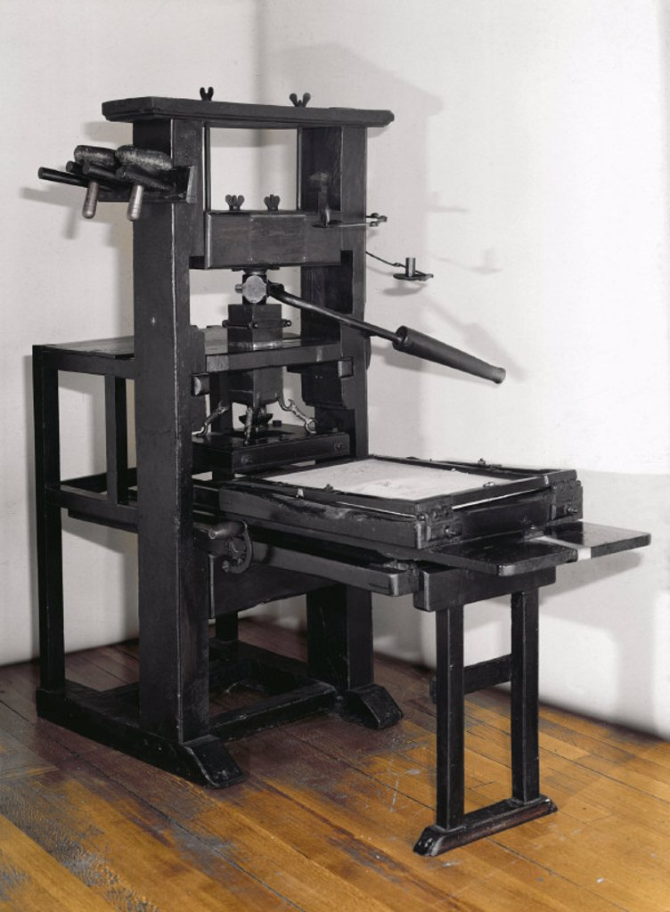Stock Photo: 1895-4895 Wooden printing press, early 18th century.