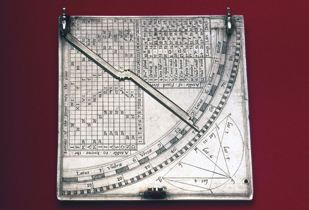 Stock Photo: 1895-5086 Quadrant sundial, English, c 1570.