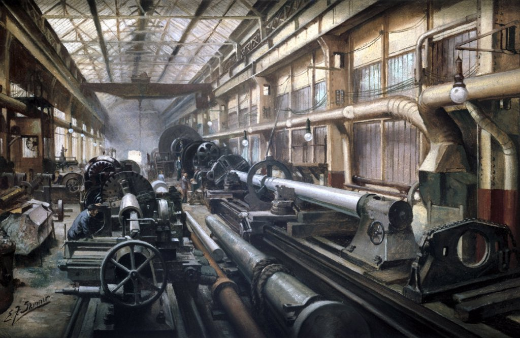 Making heavy forgings, Grimesthorpe Steel and Ordnance Works, 1914-1918. : Stock Photo