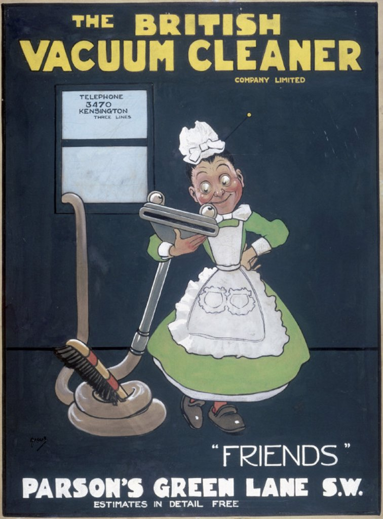 'Friends', poster promoting the British Vacuum Cleaning Company Ltd, 1906. : Stock Photo