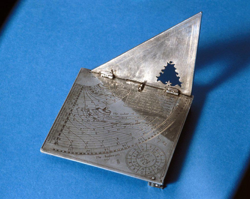 Quadrant sundial, English, c 1570. : Stock Photo