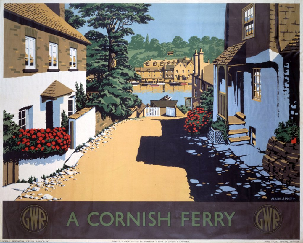 Stock Photo: 1895-5927 ´A Cornish Ferry´ , GWR poster, 1945.