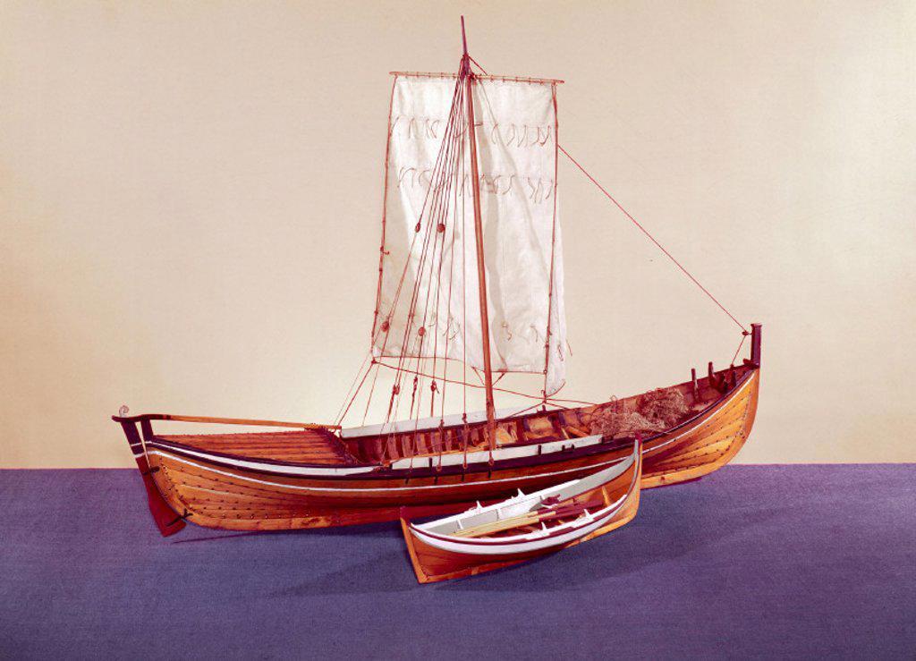Stock Photo: 1895-6021 Norwegian herring boat, late 19th century.