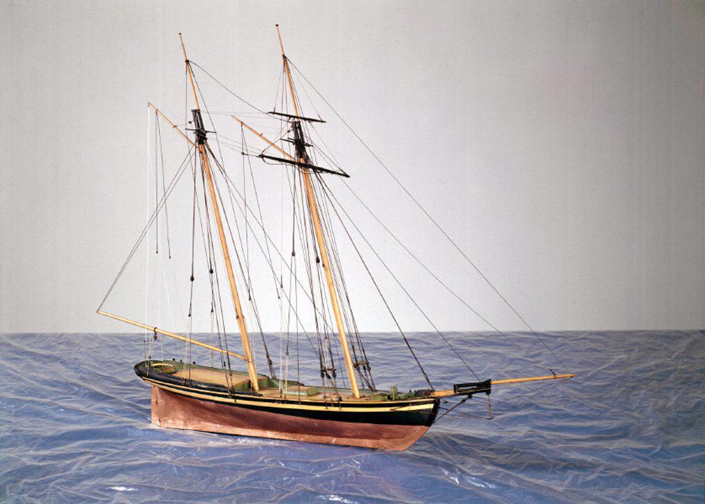 Naval schooner ´Express´, 1815. : Stock Photo