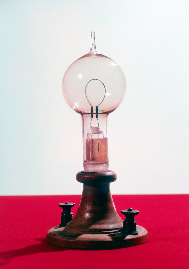 Edison´s filament lamp, American, 1879. : Stock Photo