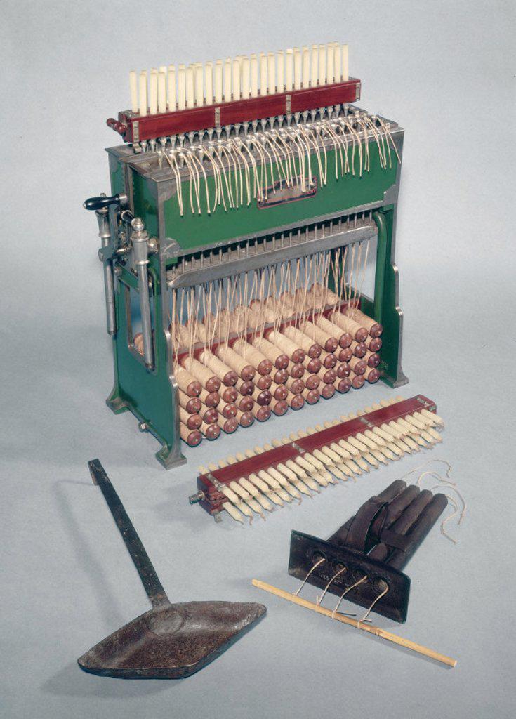 Candle moulding machine, English, c 1888. : Stock Photo