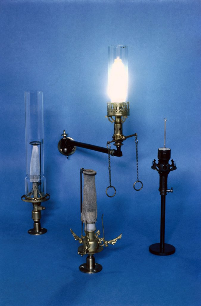Gas mantles, British, 1887 and 1889. : Stock Photo
