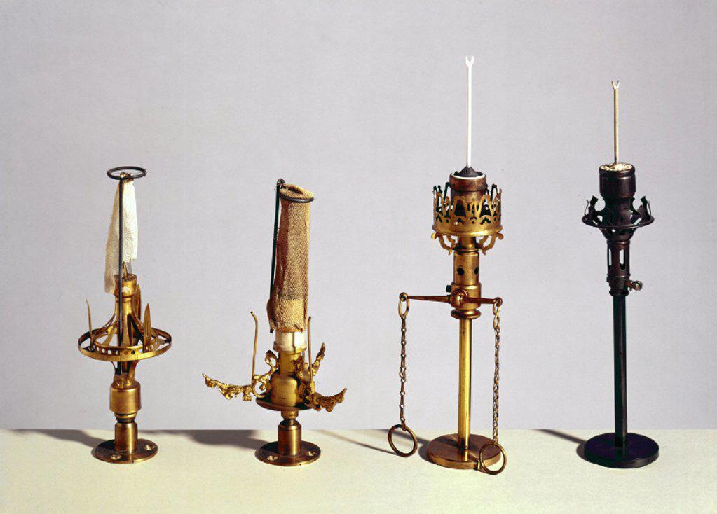 Gas mantles, 1887-1889. : Stock Photo