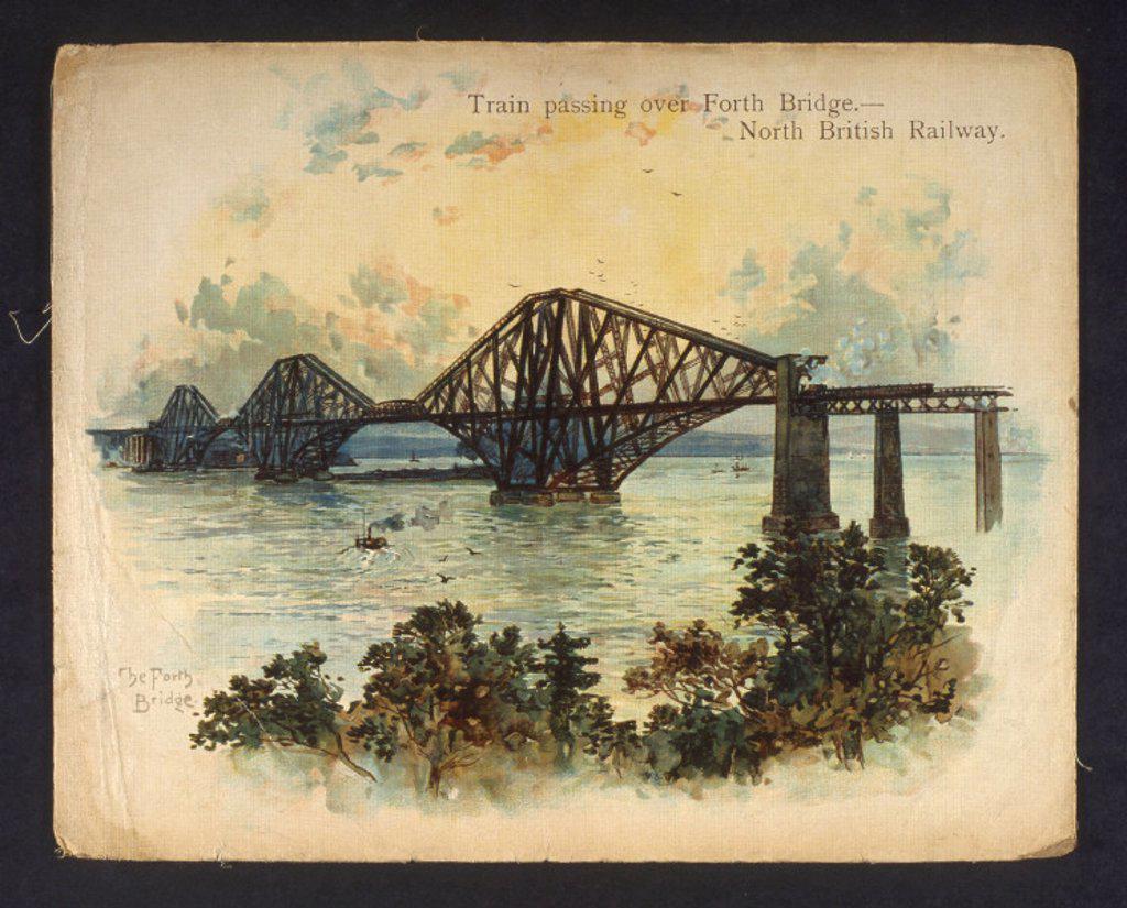 Stock Photo: 1895-6439 ´Train passing over Forth Bridge. North British Railway´, c 1890-1891.
