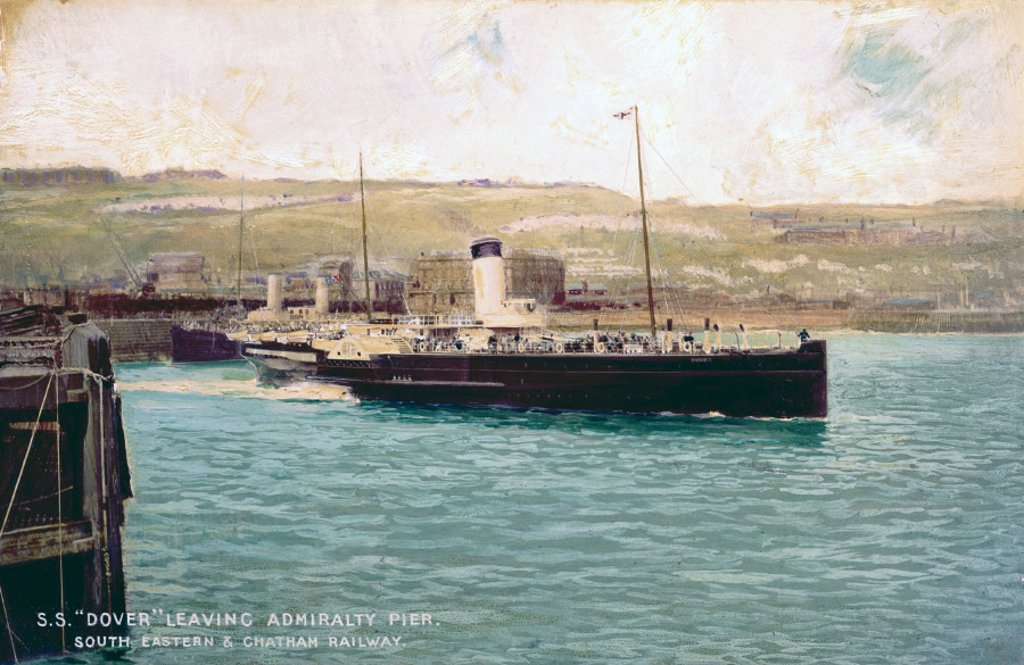 SS 'Dover' leaving Admiralty Pier, Dover, Kent, c 1899-1911. : Stock Photo