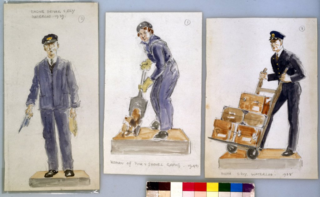 Three sketches of railway workers, c 1940. : Stock Photo