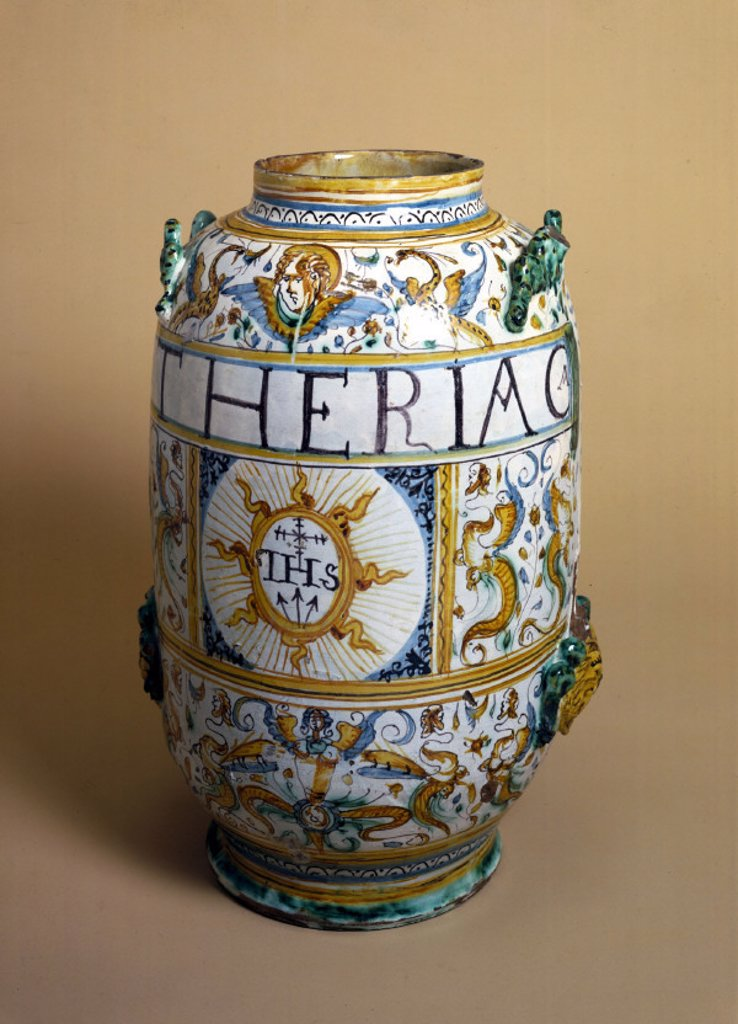 Italian pharmacy jar, 1641. : Stock Photo