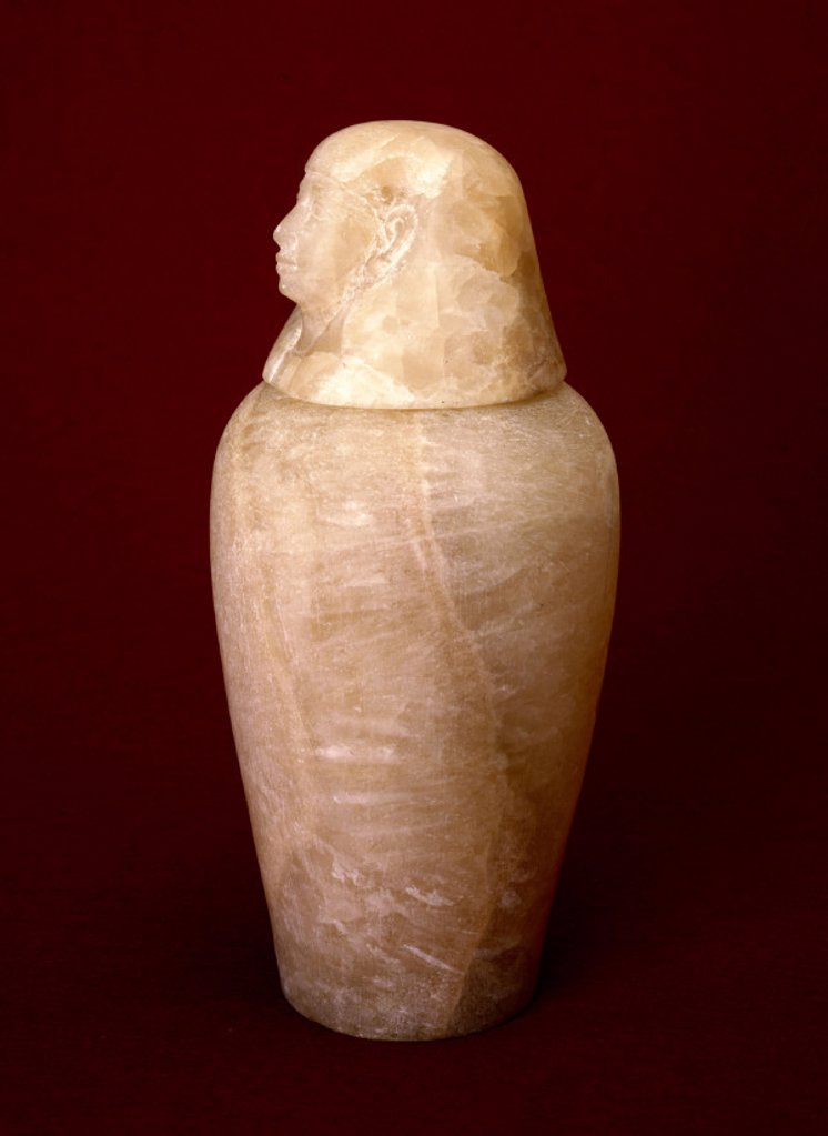 Ancient Egyptian Canopic burial jar, 800-200 BC. : Stock Photo