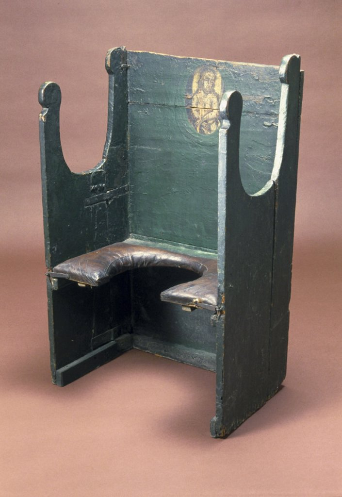 The ´Miraculous Chair of Palermo´, parturition chair, early 18th century. : Stock Photo