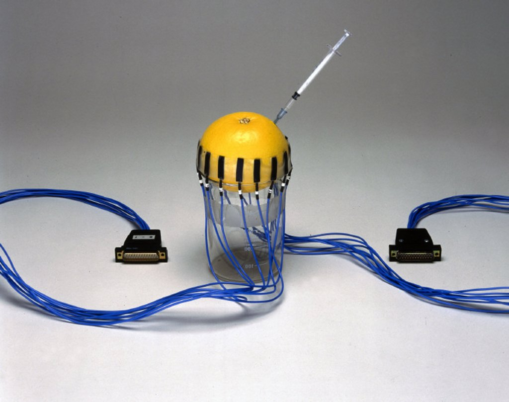 Set of 16 prototype electrodes for applied potential tomography (APT), 1987. : Stock Photo