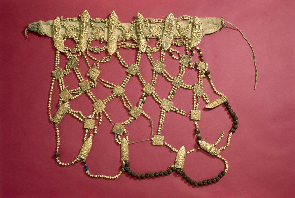 Buddhist priest´s apron, Tibetan, 18th-19th century. : Stock Photo