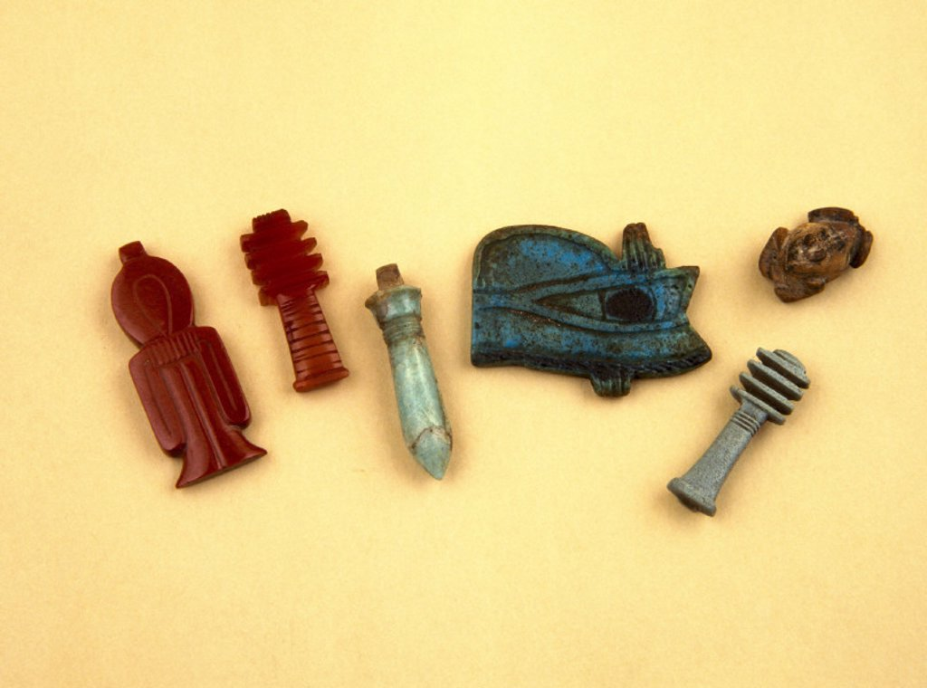 Stock Photo: 1895-7493 Group of Egyptian amulets, 4000-30 BC.