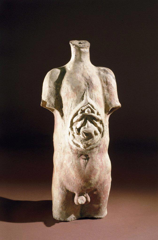 Votive male torso, Roman, 200BC-200AD. : Stock Photo