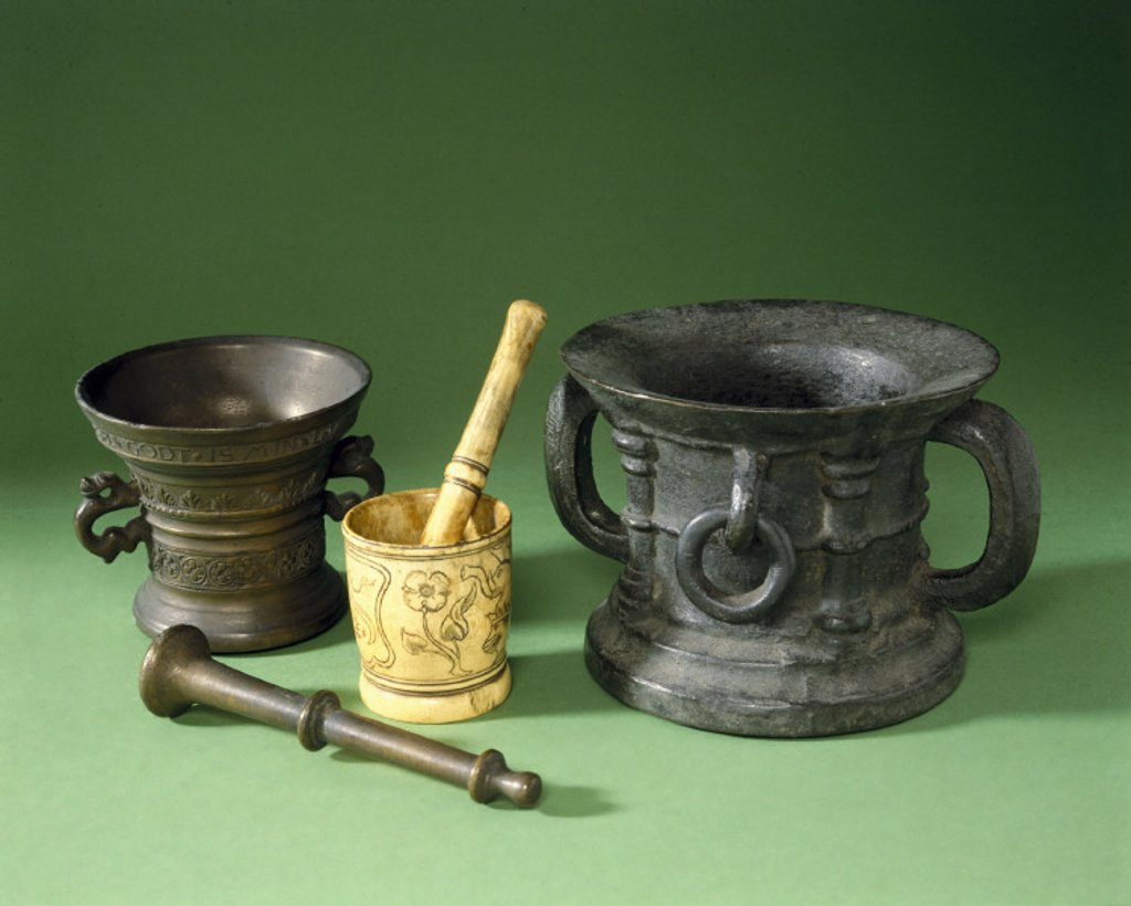 Stock Photo: 1895-7732 A selection of early European pestle and mortars, 1300-1500.