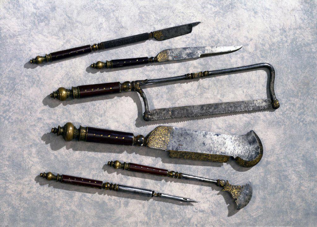 Hunting trousse, English, c 1570. : Stock Photo