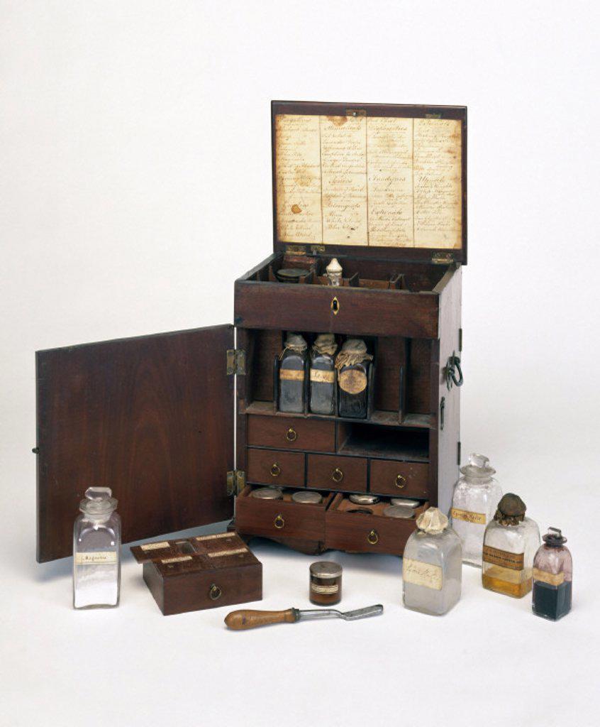 Mahogany medicine chest, 19th century. : Stock Photo