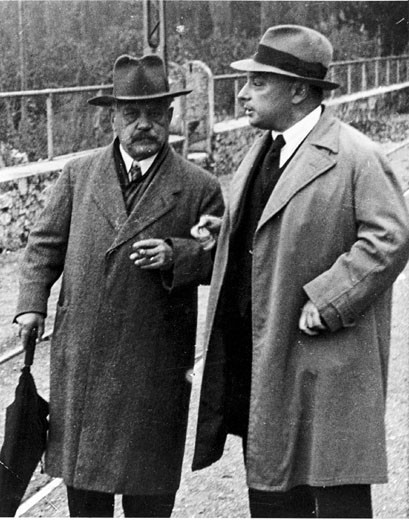 Wolfgang Pauli and Arnold Sommerfeld, physicists, c 1940. : Stock Photo