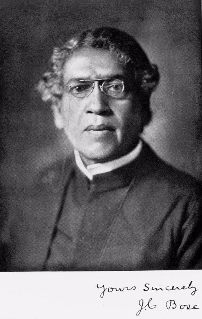 Stock Photo: 1895-8662 Sir Jagadis C Bose, Indian physicist and botanist, c 1920.