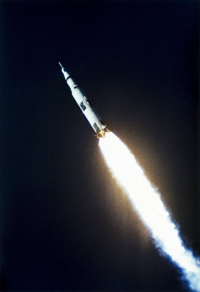 First launch of the Saturn V rocket, 9th November, 1967. : Stock Photo