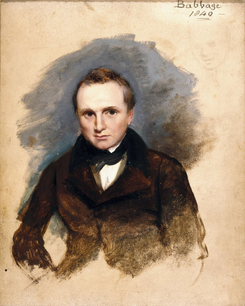 Stock Photo: 1895-8969 Charles Babbage, English pioneer of machine computing, 1840.