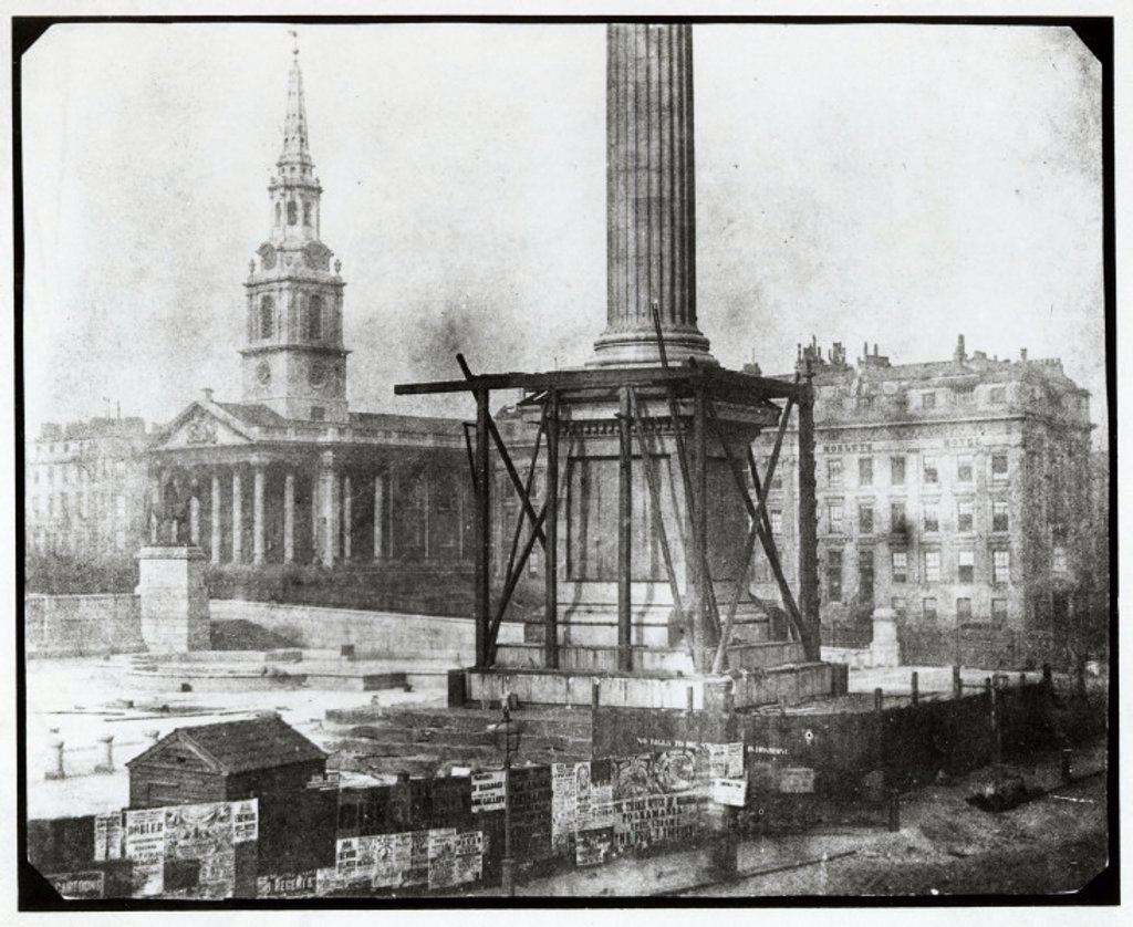 Stock Photo: 1895-9651 ´Nelson´s Column under Construction, Trafalgar Square, London´, April 1844.