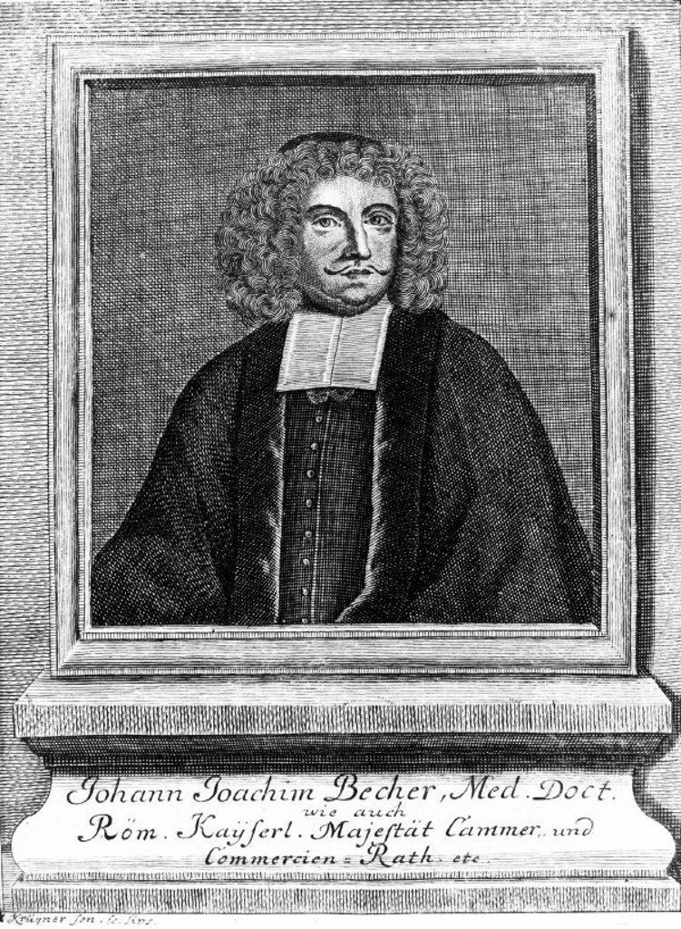 Johann Joachim Becher, German physician and chemist, c 1670s. : Stock Photo