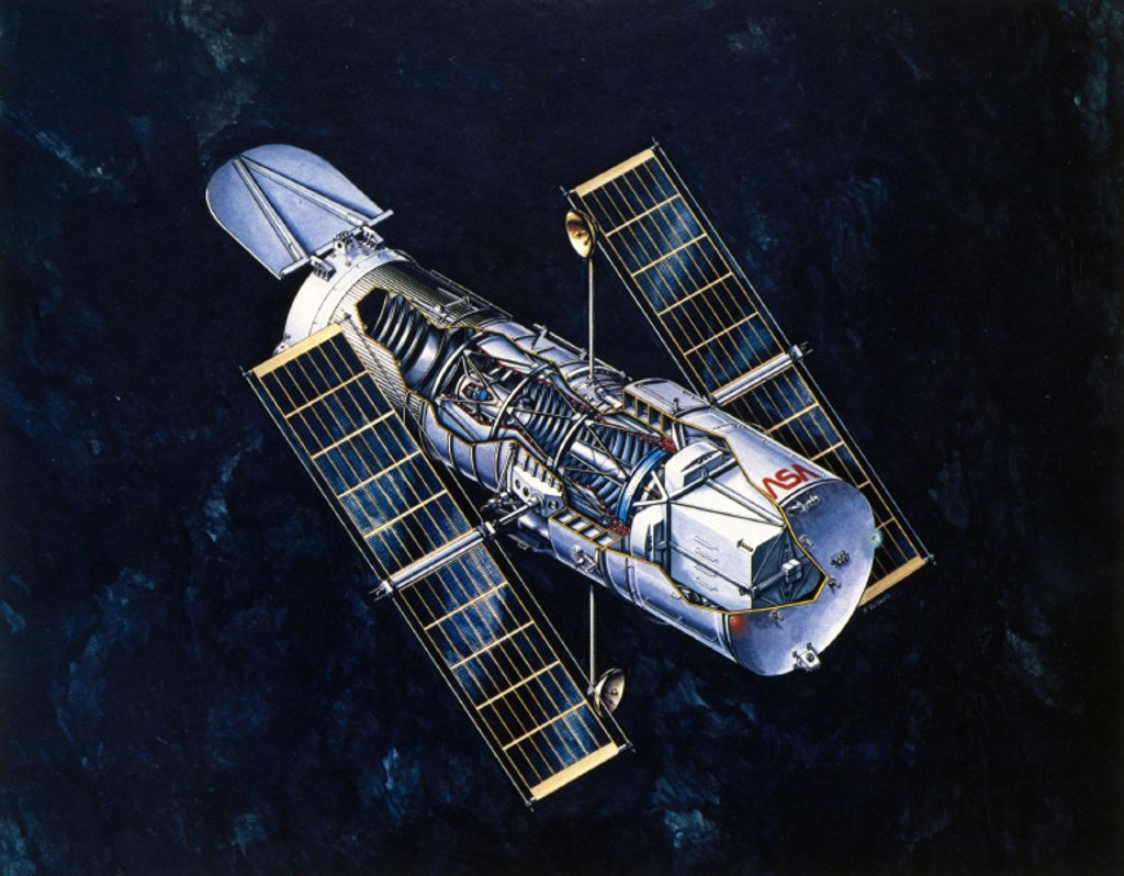 Stock Photo: 1895-9843 Drawing of Hubble Telescope, 1980s.