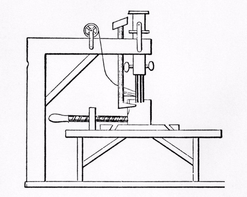 Plan of Saint´s Sewing Machine, c 1790. : Stock Photo