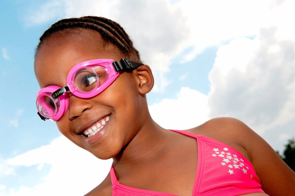 Girl wearing goggles and bikini outdoors, Johannesburg, Gauteng Province, South Africa : Stock Photo