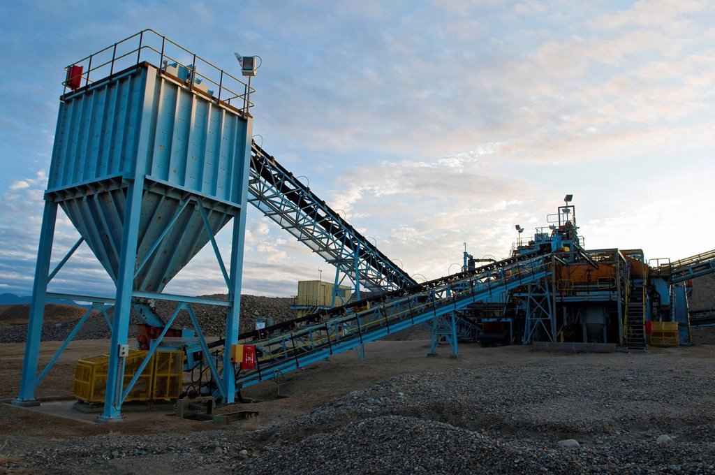 Diamond mining equipment at dawn, Richtesveld, Northern Cape, South Africa : Stock Photo