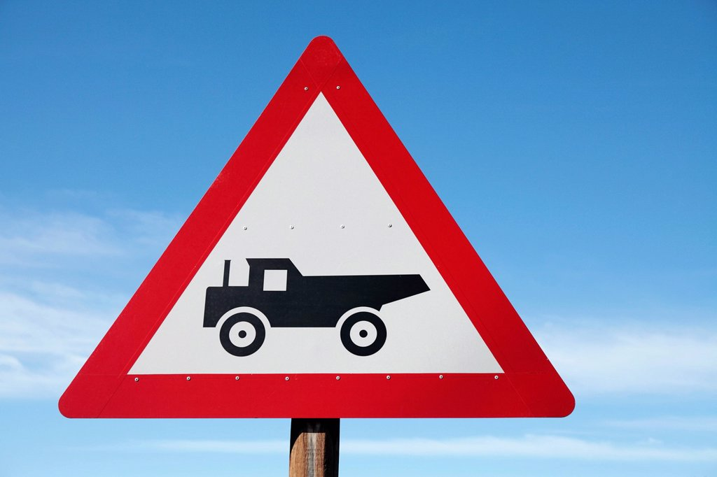 Road sign warning of trucks in road, Queenstown, Eastern Cape Province, South Africa : Stock Photo