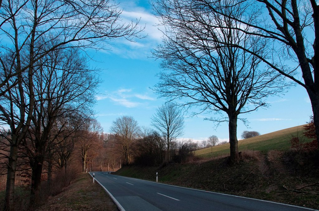 Stock Photo: 1896R-17680 Landscape with road, Odenwald, Hessen, Germany