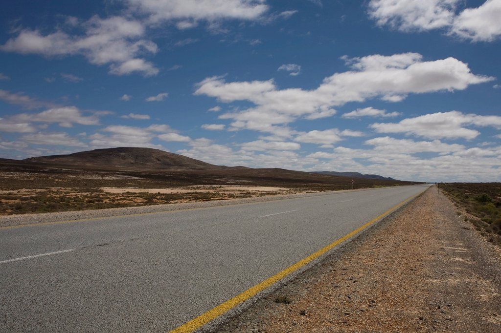 Stock Photo: 1896R-17815 Tar road with markings, Northern Cape Province, South Africa