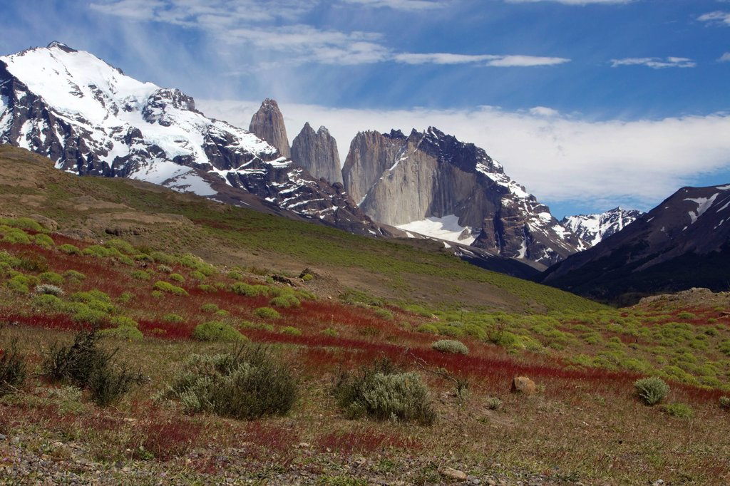 Stock Photo: 1896R-18024 A distant view of the Torres del Paine, Parque Nacional Torres del Paine, Patagonia, Chile, South America