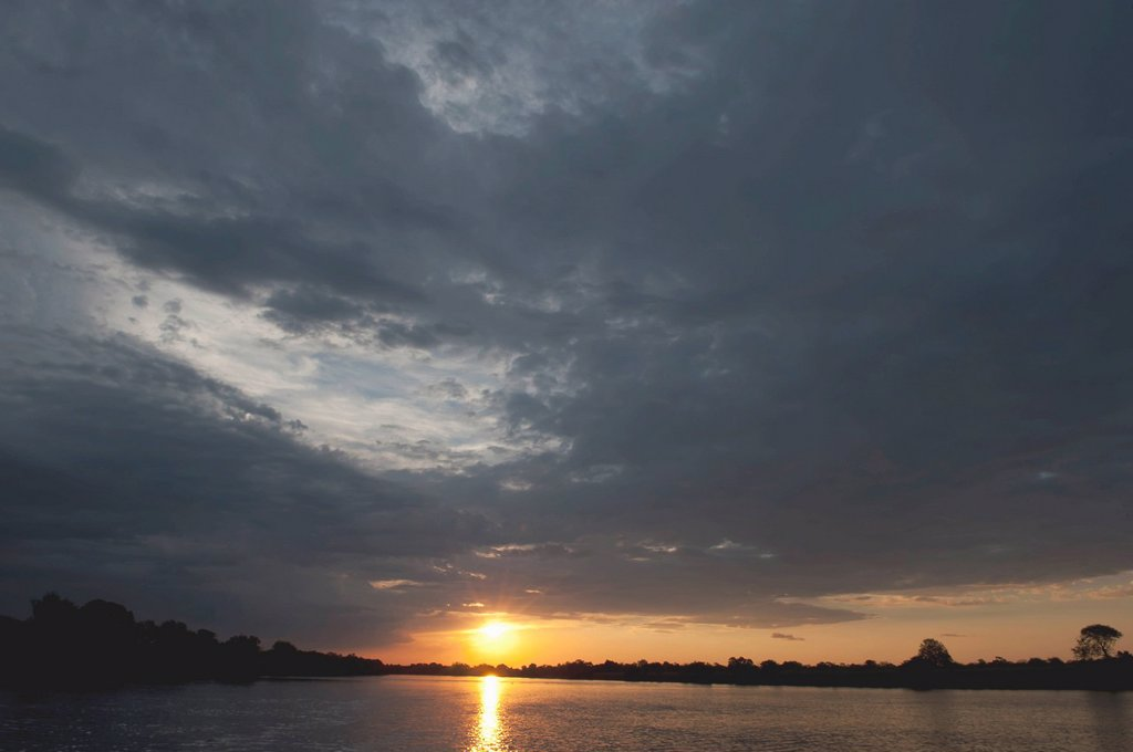 Sunset on the Kafue River, North Kafue National Park, Zambia : Stock Photo